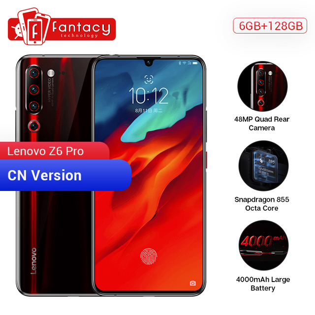 "Original Lenovo Z6 Pro 6GB 128GB Snapdragon 855 Octa Core 6.39"" 1080P Display Fingerprint Smartphone Rear 48MP Quad Cameras"