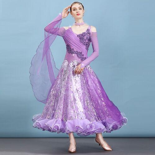 purple ballroom dress waltz dance wear modern dance dress ballroom dance competition dresses fringe standard social dress tango