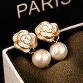 AGOOD 2017 accesorios de joyería de moda de lujo imitado perla cristal flor de la camelia pendientes stud clásico para mujer femenina