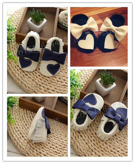 2016 fashion newborn baby moccasins two color cute genuine leather bow heart toddler first walker soft sole newborn baby shoes