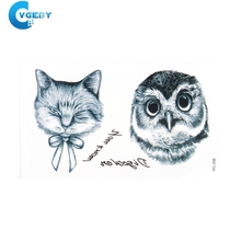 5PCS/lot Owl Tattoo Disposable 3d Waterproof Body Art Arm Hand Cat Temporary Tatoo Stickers Paste Pattern