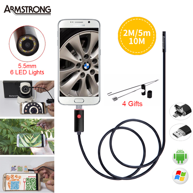 Black 2IN1 5.5mm Lens Endoscope Android Camera Borescope HD 2M 5M 10M Waterproof OTG IP67 USB Android Camera 6 LED Endoscopio