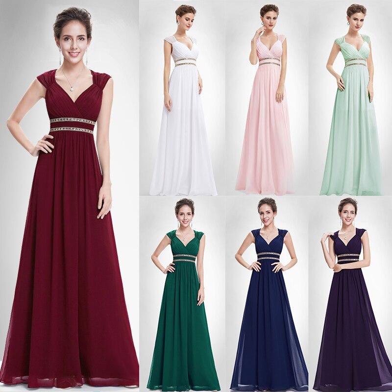 Baile de Borgoña vestidos largo de 2019 XX79680PE bonito mujer Formal elegante Gala vestido para la graduación Chiffon una línea vestido de fiesta