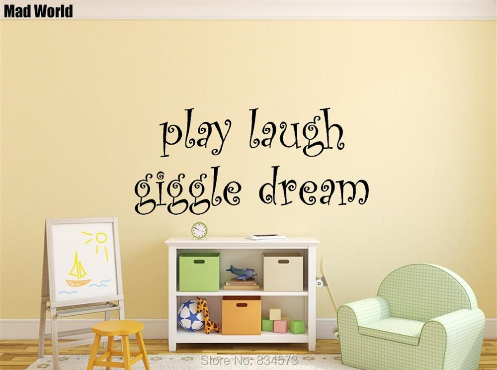 Mad World NURSERY BABY Play Laugh Giggle Dream Wall Art Stickers ...