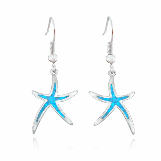 Marvats 2018 New Synthetic Blue Red Fire Opal Starfish Dangle Earrings For Women Boho Star Copper
