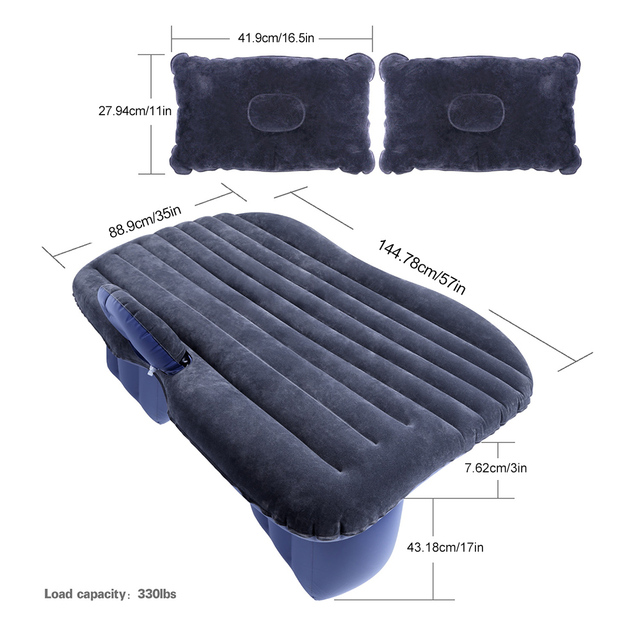 Car Inflatable Mattress Back Seat Inflatable Sofa Cushion in vehicle Outdoor Camping Travel Mattress with Pillows Car Travel Bed