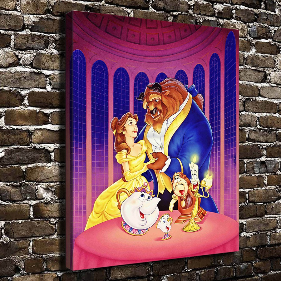 A969 Beauty And The Beast Children Cartoon Film Hd Canvas