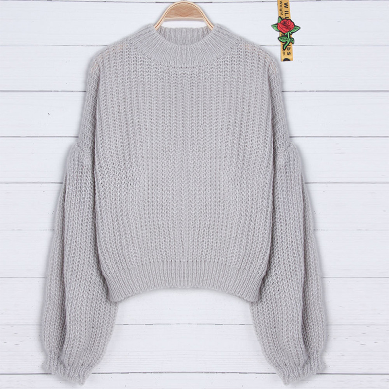 Casual women's spring and autumn fashion sweater Fashion trend lantern sleeve sweater Long sleeve knit pullover Loose sweater