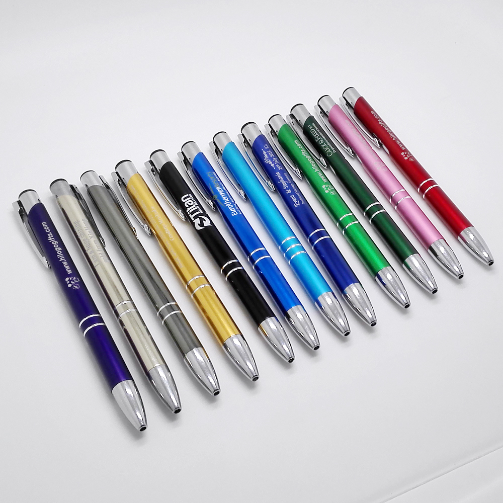Company events gifts personalized metal pens engraved with your company logo/website/email/brand best gifts for employees