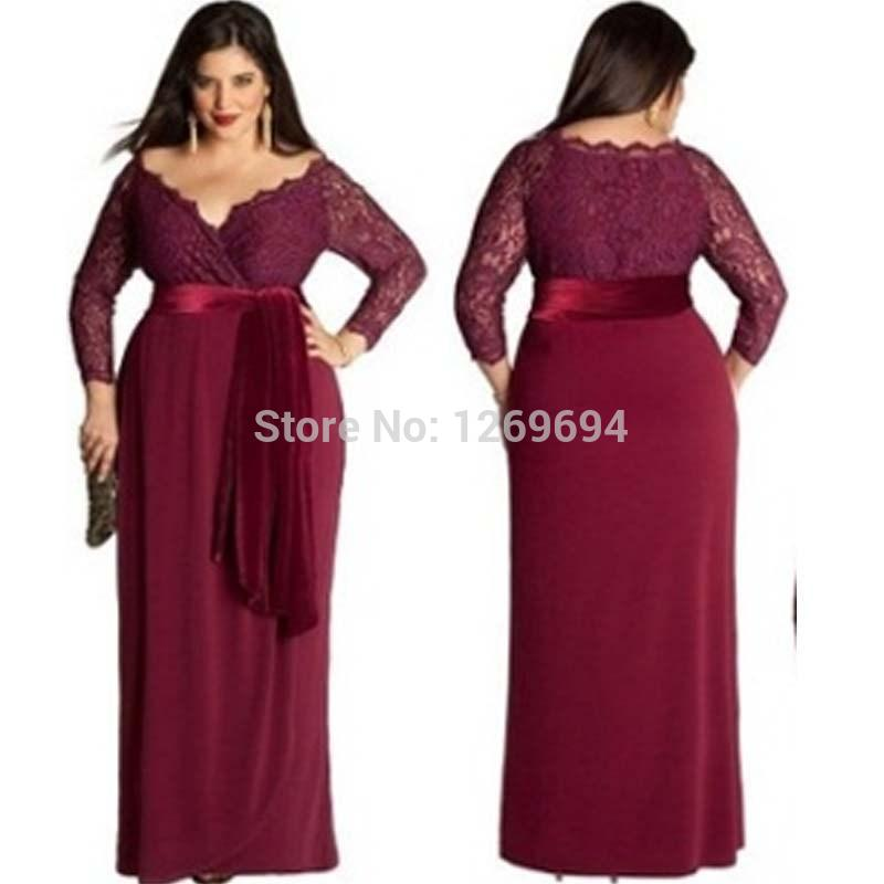 Plus Size Elegant Evening Dresses A Line Red Wine/Burgundy Deep V ...