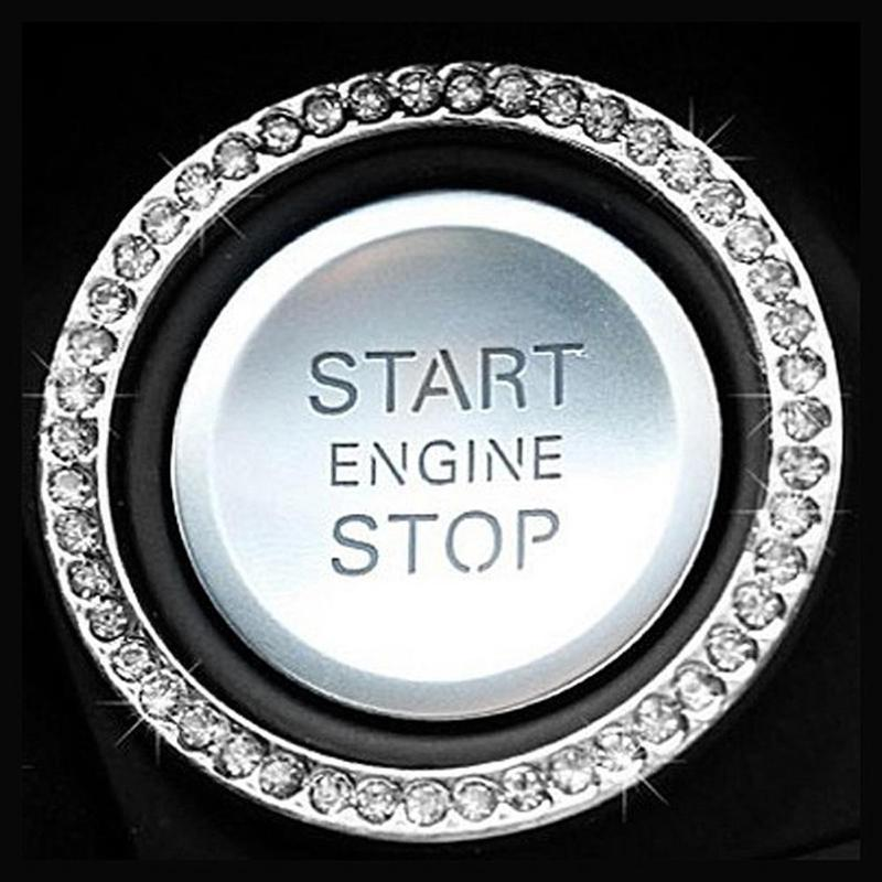 "HTB1Un50zXmWBuNjSspdq6zugXXaW 40mm/1.57"" Auto Car Bling Decorative Accessories Automobiles Start Switch Button Decorative Diamond Rhinestone Ring Circle Trim"