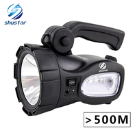 Rechargeable Bright LED Flashlight Torch 20W High Powered Searchlights Built In 2300mAh Lithium Battery Two Working