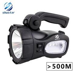 Recarregável brilhante led lanterna tocha 20 w de alta potência projectores embutidos 2300 mah bateria de lítio dois modos de trabalho