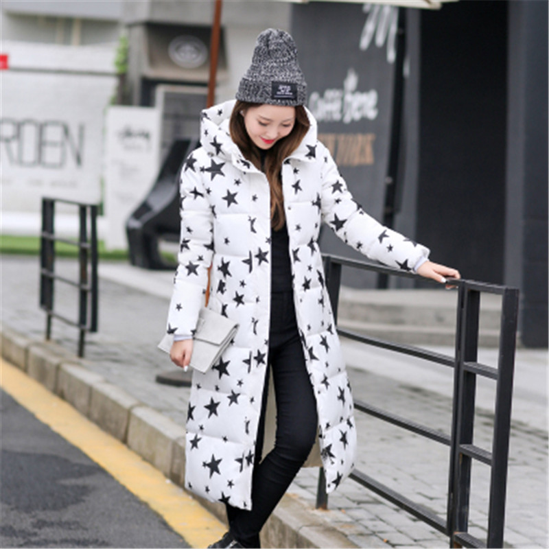 Womens printing jackete extreme winter plus size casaco de clothes warm long   parkas   female hooded wadded mujer star coat MZ905