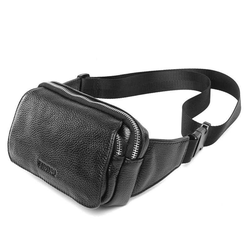 ФОТО TIDING Wide Strap New Black Leather Fanny Packs Fashion Waist Bum Bag Travel Work Shoulder Bag 3091R