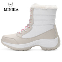 Minika Winter Boots For Women Solid Soft Cute Women Snow Boots Round Toe Botas Mujer Ankle