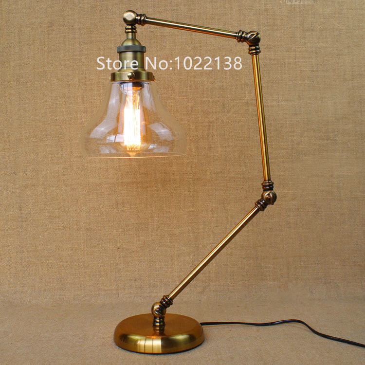 Retro golden coffee shop table lamp glass shade vintage desk lamp retro golden coffee shop table lamp glass shade vintage desk lamp dimmable 40w edison bulb bedroom bar table light desk light in table lamps from lights aloadofball Image collections