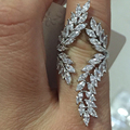 clear white stone with white gold plated micro pave setting angel wings wedding ring for women