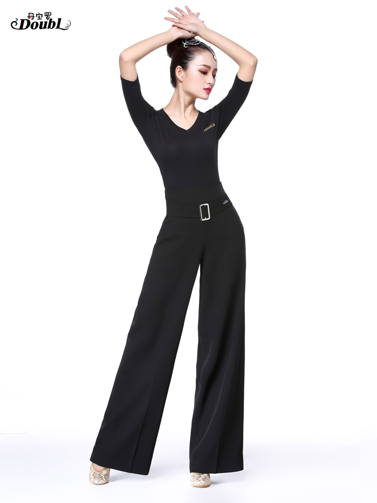 Woman's Adult Latin Dance Pants Long High Waist Broad Leg Trousers Ballroom Performance Dance Practice Clothes Flared Pants H658 3