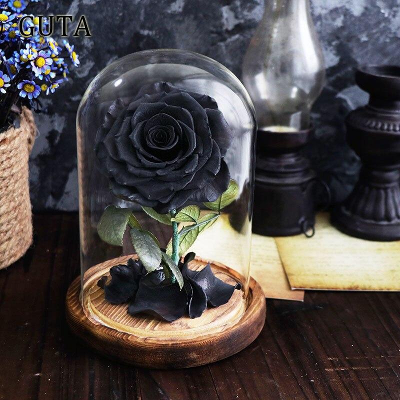 Новинка, красивая и чудовищная Роза в стеклянном куполе, светодиодный светильник, украшение для дома на День святого Валентина, рождественские подарки - Цвет: Black