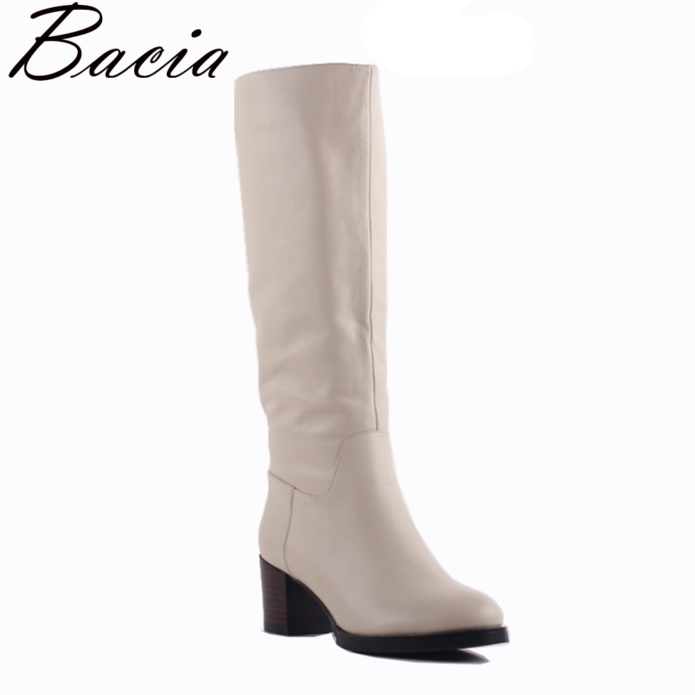 Bacia 100% Real Fur Classic Mujer Botas Genuine Cowhide Leather Snow Boots Winter Shoes for Women Light Apricot Boots SA077 nemaone 2017 genuine leather snow boots winter shoes for women new arrival 100% real fur classic mujer botas waterproof