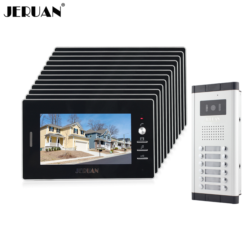 JERUAN New Apartment Intercom System 7`` Color Video Door Phone intercom System 12 monitors +700TVL Camera For Free shipping free shipping new 7 video door phone intercom system 2 white monitors 1 outdoor bell camera for 2 household apartment family