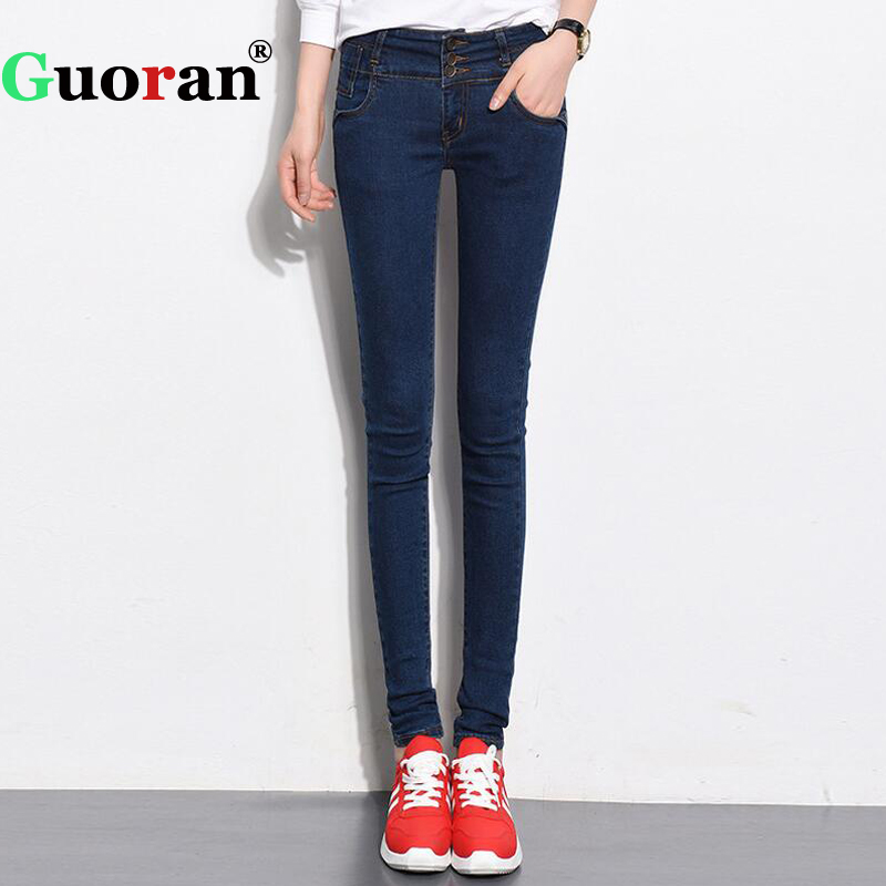 {Guoran} High Stretch Femme Jeans Denim Blue Women Skinny Jeans Pencil Pants Plus Size Lady Slim Leggings Black Femme Pantalon lole леггинсы lsw1234 motion leggings m blue corn