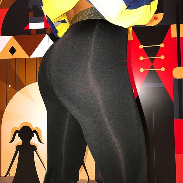 ad1cb0900ab7e4 Women'S Black Lycra Polyester Leggings Neon Spandex Leggings Ladies High  Waist Stretch Skinny Shiny Spandex Leggings Women