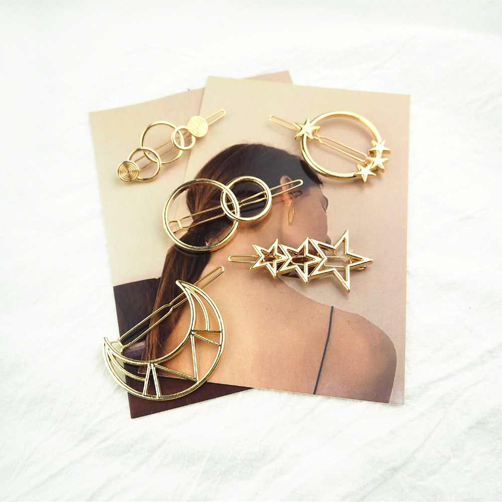 Moon / Circle / Stars /   Hair clip Fashion Gril pin hairgrip ornaments Geometric Metal Woman hairpins girl Accessories
