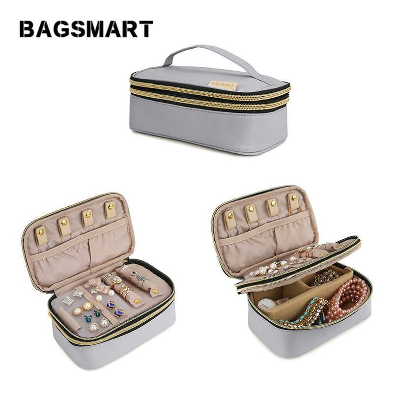 BAGSMART Women Travel Jewelry Pouch Bag for Necklace Bracelet Earring Double Layer Jewelry Organizer Case for Ring Watch