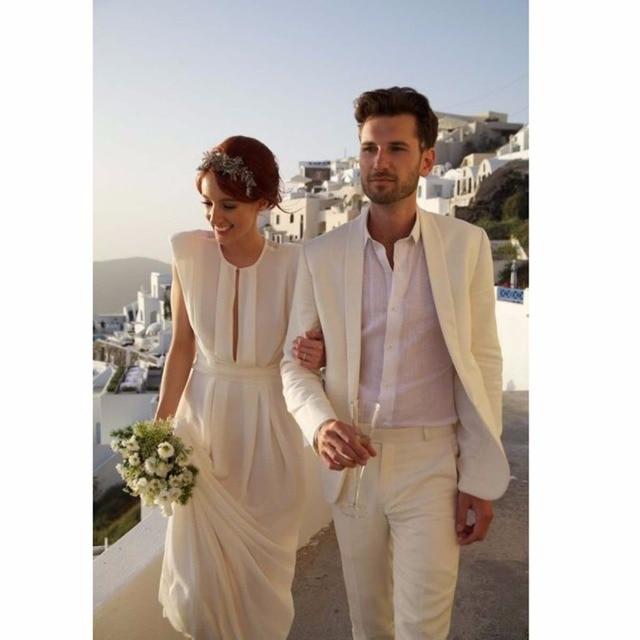 Beliebt Bevorzugt Elfenbein Leinenanzug Scharfen Blick Zugeschnitten Bräutigam Anzug &BW_07