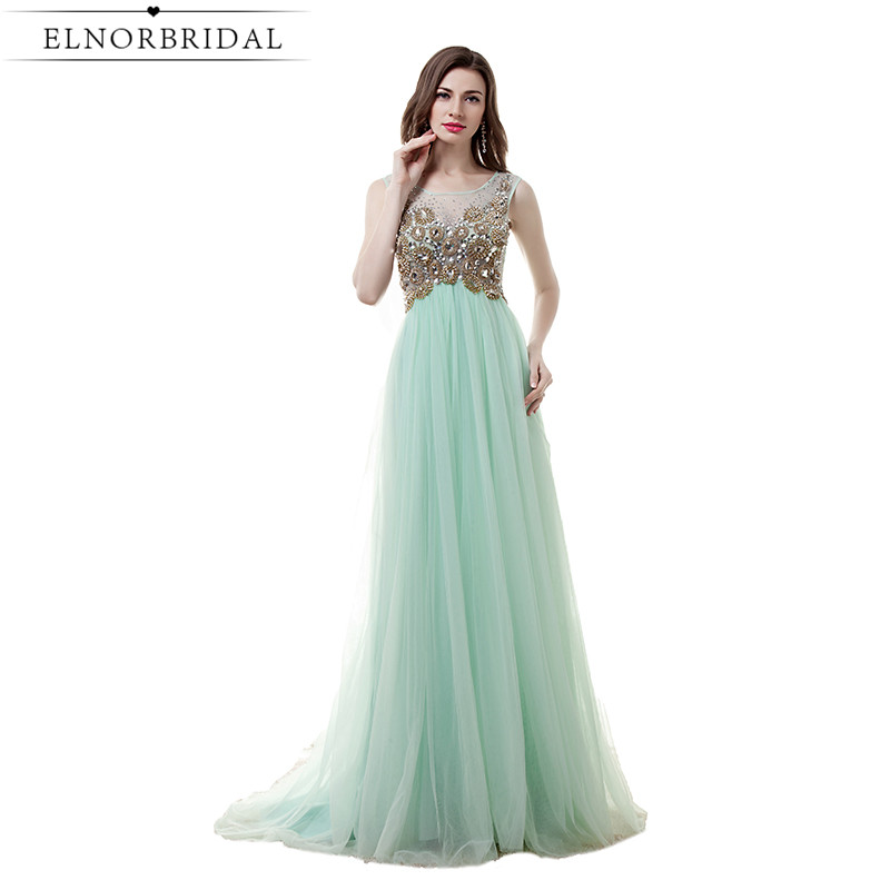 Mint Green Prom Dress Sheer Sexy Girls Birthday Party Dress Illusion Robe De Soiree Longue Special Occasion Evening Gowns 2017