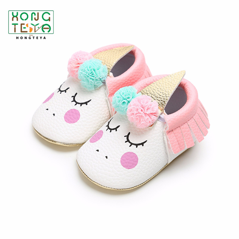 2019 Hot Sale  First Walker Party Shoes New Unicorn Baby Shoes Fringe Baby Moccasins PU Leather Gold Soft Sole Baby Brand Shoes