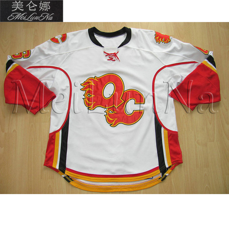 MeiLunNa Custom AHL Quad City Flames Hockey Jerseys 31 Curtis McElhinney 36 Matt Keetley Home Road Sewn On Any Name NO. Size