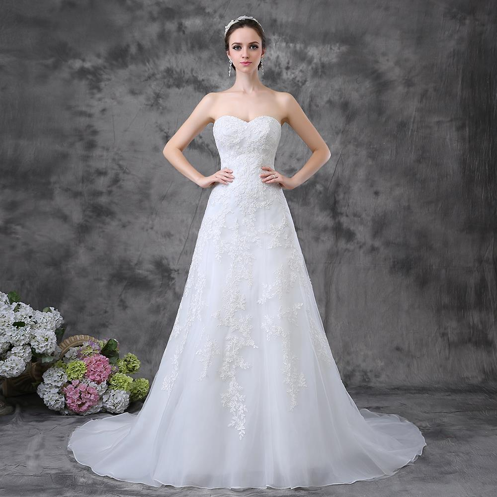 Strapless A Line Long Train Vintage Inspired Lace Wedding ...