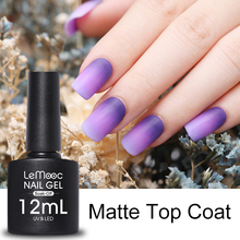 LEMOOC 8ml 12ml Matte Top Coat Lucky Color Semi Permanent Gel Lacquer UV LED Lamp Long Lasting Soak Off Nails Polish