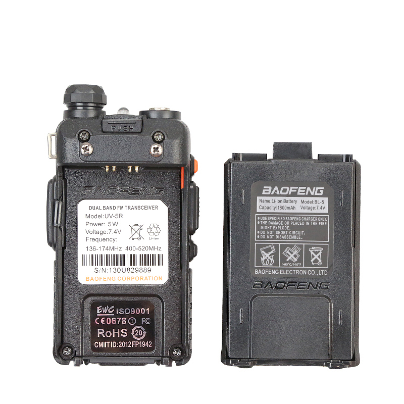 UV-5R Dual Band VHF/UHF Two Way Ham Radio Transceiver Walkie Talkie BaoFeng