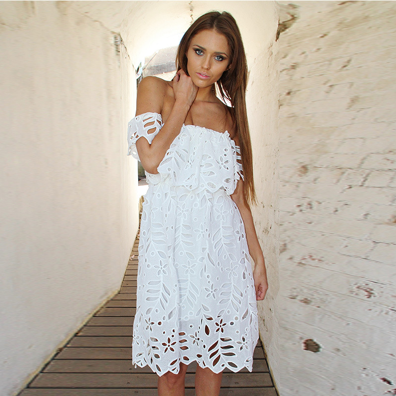 Hot Elegant White Lace Dress Strapless Solid Color