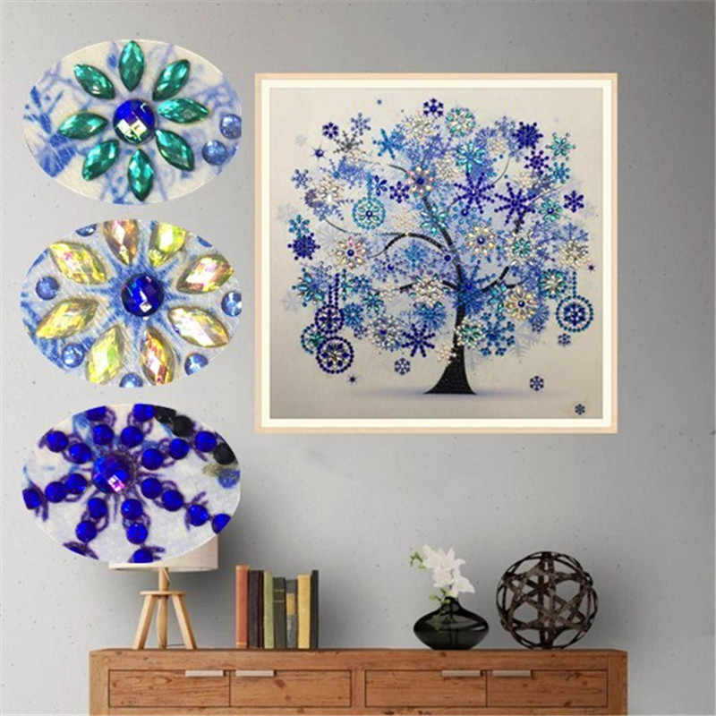 Diamond Embroidery Winter Flower Tree Special Shaped Diamond Painting Needlework Rhinestone 5d Drill DIY Crystal Painting
