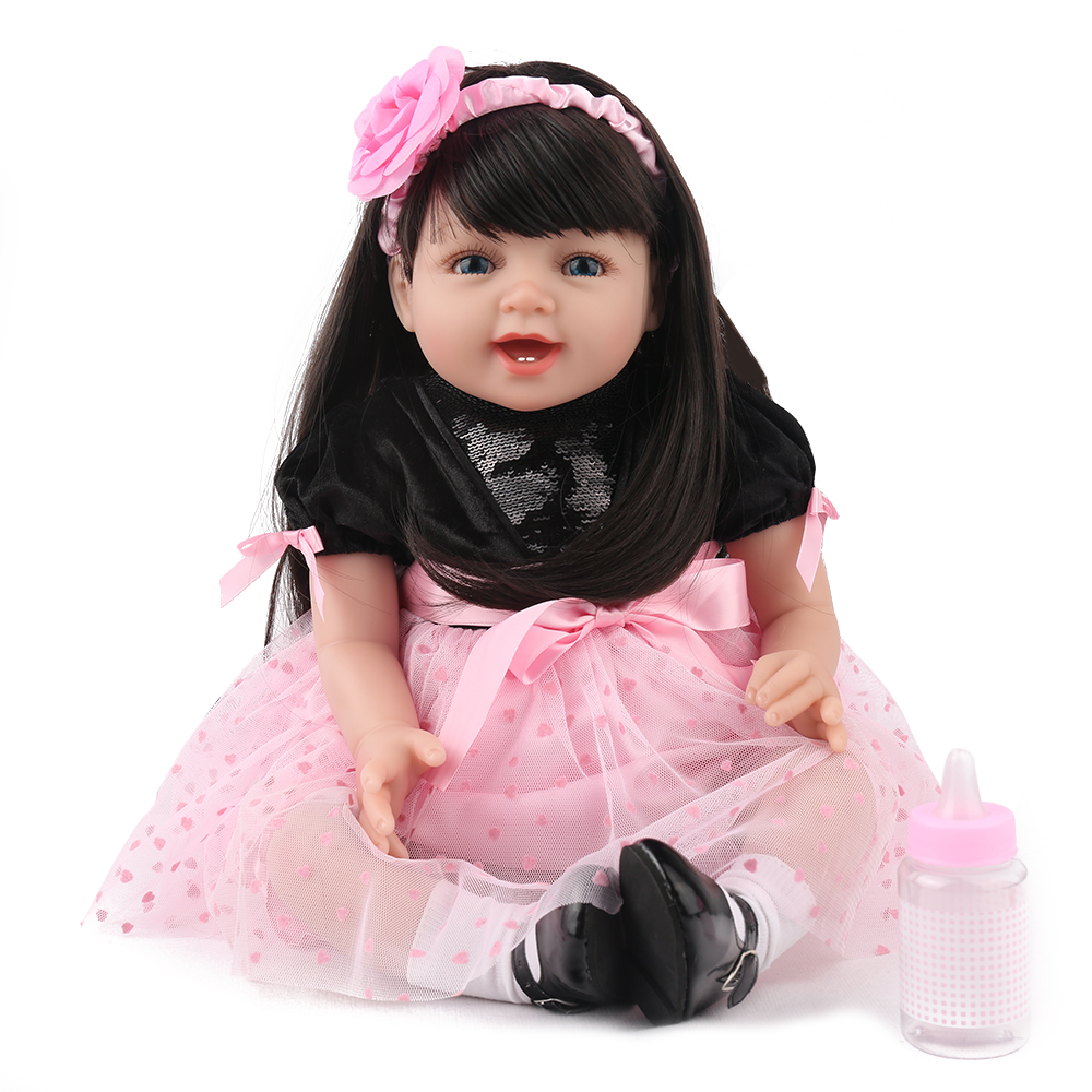 KAYDORA 22Inch 55cm Silicone Reborn Baby Dolls Baby Alive Adorable Lifelike Toddler Girl Toys Long Hair Birthday Christmas Gift