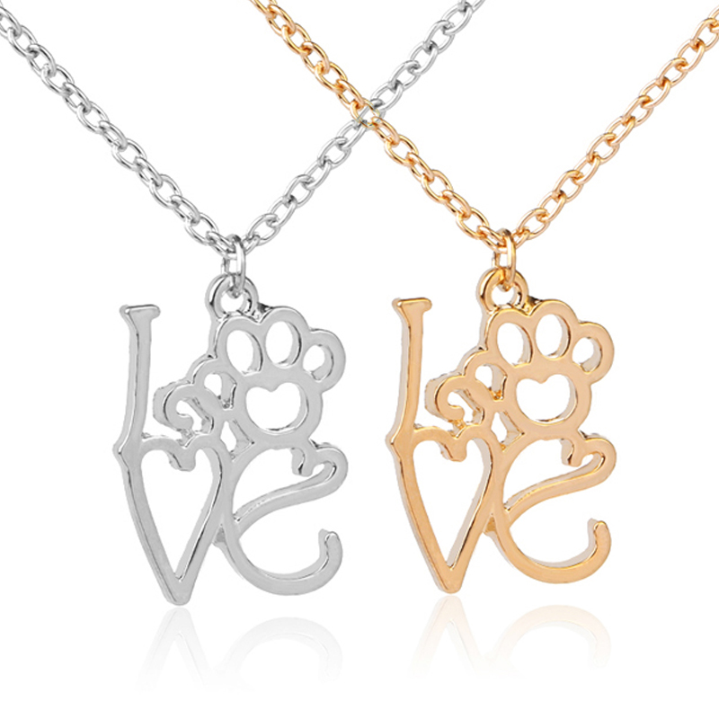 Pet Lover Dog Cat Paw Print Tag Pendant Heartbeat Electrocardiogram Necklace