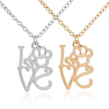Простые ожерелья с монограммой love dog cat pet paw prints, простые украшения для щенков Paw Heart Memorial, украшение для любимого питомца, bestfriend necklace