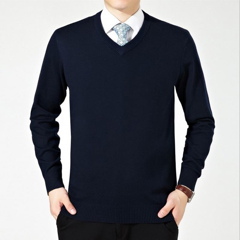 V Masajeadores de cuello suéter de punto de lana hombres