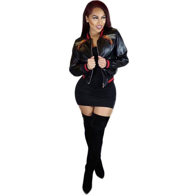 2017 new arrival hot sales Moda imitação de couro animal bordado CM9686 costela de manga comprida sexy clube desgaste do revestimento do revestimento das mulheres