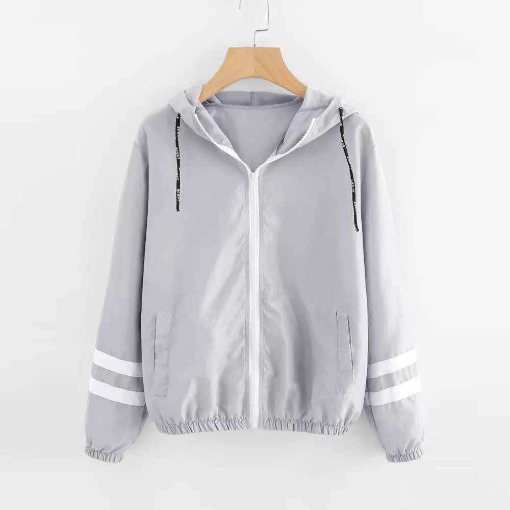 Womail Autumn Women Contrast Ribbons Trim Zip Up Hooded Jacket Striped Patched Sleeve Girl Coat Outwear Windbreaker Jacket F706