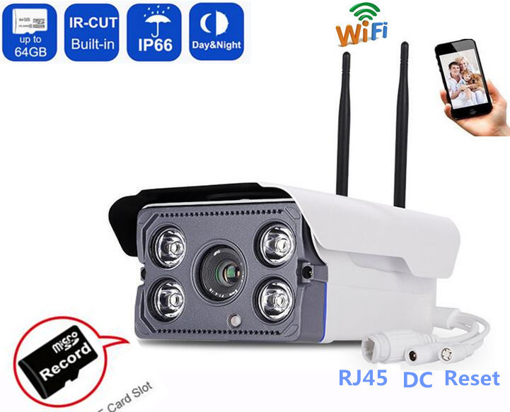 720P /1080P HD Wireless CCTV IP Camera Bullet IR WIFI Outdoor waterproof Audio Camera Phone View Onvif SD card Slot Nightvision