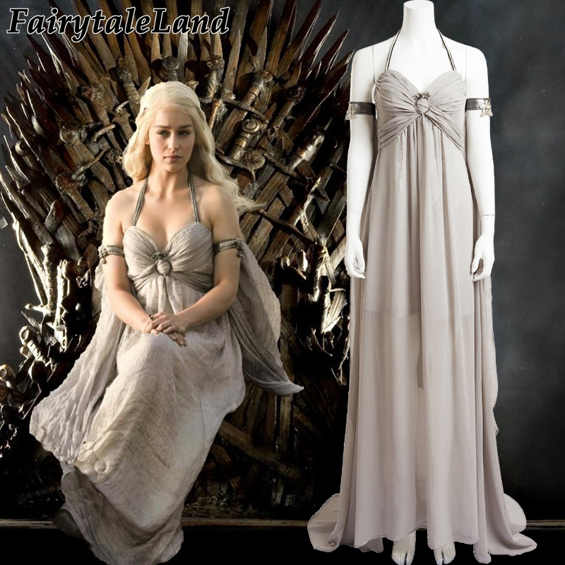 Game of Thrones Season 1 Daenerys Targaryen cosplay costume Halloween costumes women adult Daenerys Targaryen dress