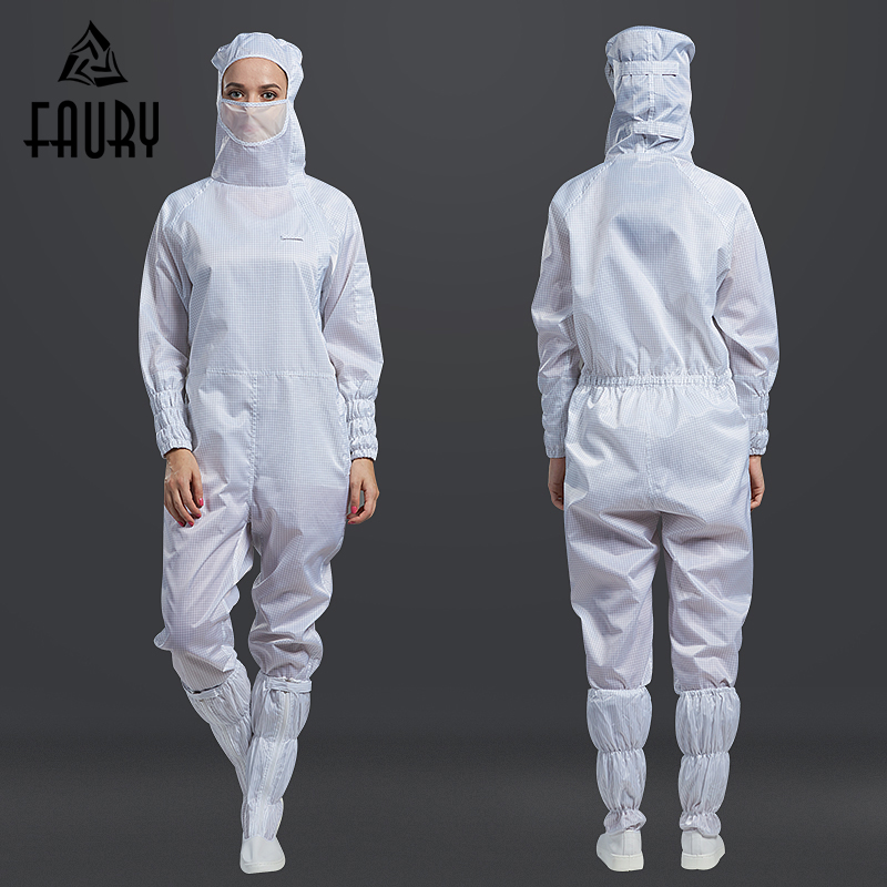 Unisex 100-level Clean Clothing Grid Anti-static Workshop Overalls Electronics Factory One-piece Mask Hooded Dust-proof Jumpsuit