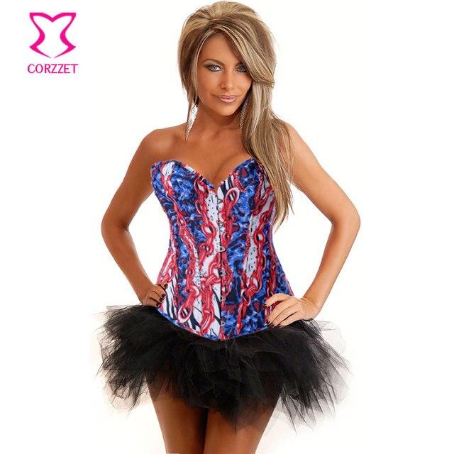 bcd0072110 Wild Fantasy Women Burlesque Denim Corset Bustier Dress Body Shaper Sexy  Bustiers and Corsets Top + Skirt Korse Jeans Dress