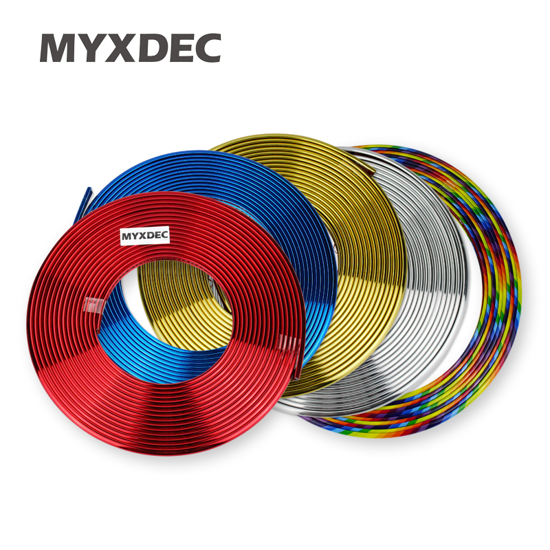 8M Car Styling Tire Tyre Rim Care Protector Hub Wheel Stickers Strip For BMW volkswagen VW Opel Toyota Audi Ford Car Accessories 10pcs 20 8 1 9mm rubber hollow tire car wheel model wheels diy toy accessories for car f17678
